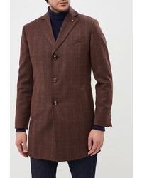 Коричневое длинное пальто в клетку от Bazioni