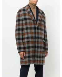 Коричневое длинное пальто в клетку от Lanvin