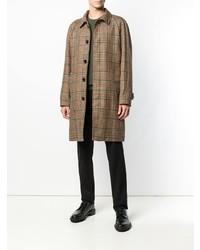 Коричневое длинное пальто в клетку от Paltò