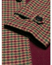 Коричневое длинное пальто в клетку от Prada