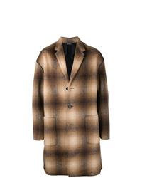 Коричневое длинное пальто в клетку от N°21