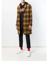 Коричневое длинное пальто в клетку от AMI Alexandre Mattiussi