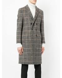 Коричневое длинное пальто в клетку от Loveless