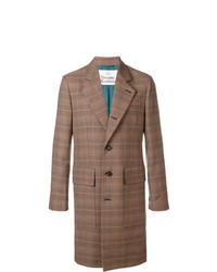 Коричневое длинное пальто в клетку от Vivienne Westwood