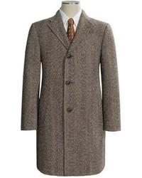 """Коричневое длинное пальто с узором """"в ёлочку"""""""