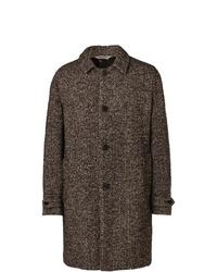 """Коричневое длинное пальто с узором """"в ёлочку"""" от Aspesi"""