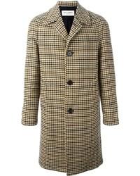 """Коричневое длинное пальто с узором """"гусиные лапки"""""""