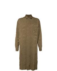 Коричневое длинное пальто с цветочным принтом от Uma Wang