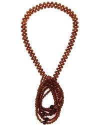 Женское коричневое колье из бисера