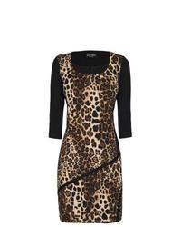 Коричневое облегающее платье с леопардовым принтом