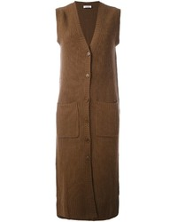 Коричневое пальто без рукавов