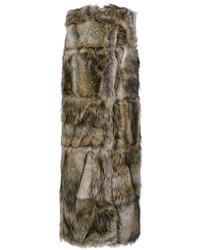 Коричневое пальто без рукавов от Stella McCartney