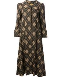 Женское коричневое пальто в шотландскую клетку от Biba