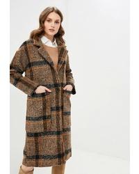 Женское коричневое пальто в шотландскую клетку от Fresh Cotton