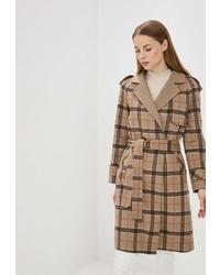 Женское коричневое пальто в шотландскую клетку от la Biali