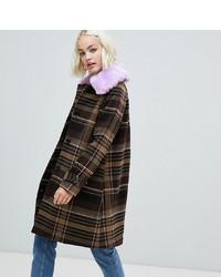 Женское коричневое пальто в шотландскую клетку от Monki