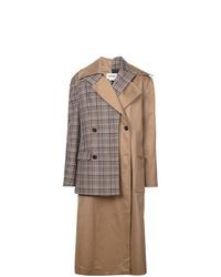 Женское коричневое пальто в шотландскую клетку от Monse