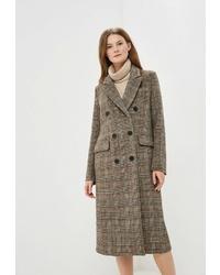 Женское коричневое пальто в шотландскую клетку от On Parle de Vous
