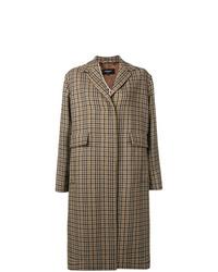 Женское коричневое пальто в шотландскую клетку от Rochas
