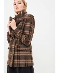 Женское коричневое пальто в шотландскую клетку от Ruxara
