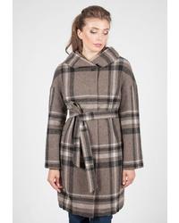 Женское коричневое пальто в шотландскую клетку от Shartrez