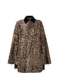 Коричневое пальто-накидка с леопардовым принтом