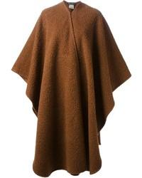 Коричневое пальто-накидка от Salvatore Ferragamo