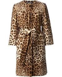 Коричневое пальто с леопардовым принтом