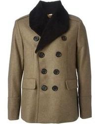 Мужское коричневое пальто с меховым воротником от Burberry