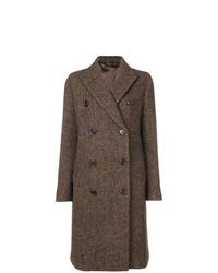 """Коричневое пальто с узором """"в ёлочку"""""""