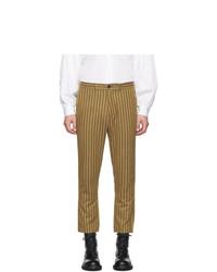 Коричневые брюки чинос в вертикальную полоску