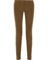 Коричневые вельветовые узкие брюки