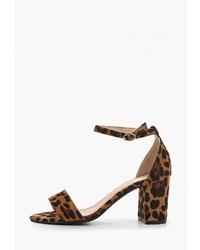 Коричневые замшевые босоножки на каблуке с леопардовым принтом от Super Mode