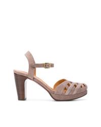 Коричневые замшевые босоножки на каблуке от Chie Mihara