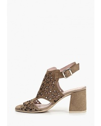 Коричневые замшевые босоножки на каблуке от El Tempo