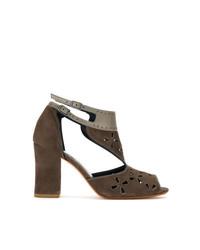 Коричневые замшевые босоножки на каблуке от Sarah Chofakian