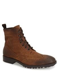 Коричневые замшевые ботинки броги