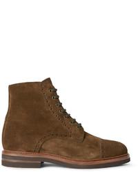 Мужские коричневые замшевые ботинки броги от Brunello Cucinelli