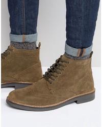 Мужские коричневые замшевые ботинки броги от Frank Wright
