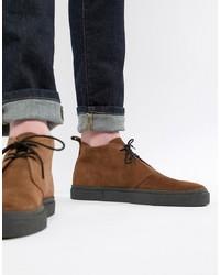 Коричневые замшевые ботинки дезерты от Fred Perry