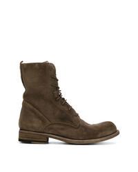 Коричневые замшевые ботинки на шнуровке