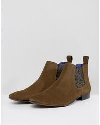 Коричневые замшевые ботинки челси с принтом
