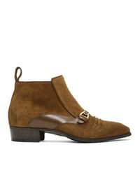 Мужские коричневые замшевые ботинки челси от Gucci