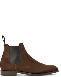 Мужские коричневые замшевые ботинки челси от John Lobb