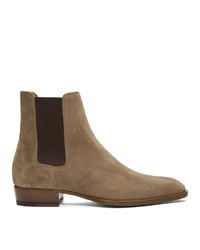 Мужские коричневые замшевые ботинки челси от Saint Laurent