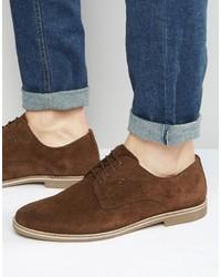Мужские коричневые замшевые туфли дерби