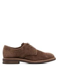 Коричневые замшевые туфли дерби от Brunello Cucinelli