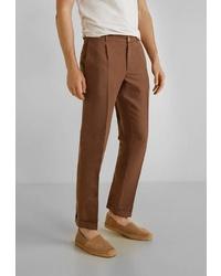 Мужские коричневые классические брюки от Mango Man