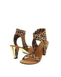 Коричневые кожаные босоножки на каблуке с леопардовым принтом