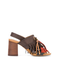 Коричневые кожаные босоножки на каблуке c бахромой от See by Chloe